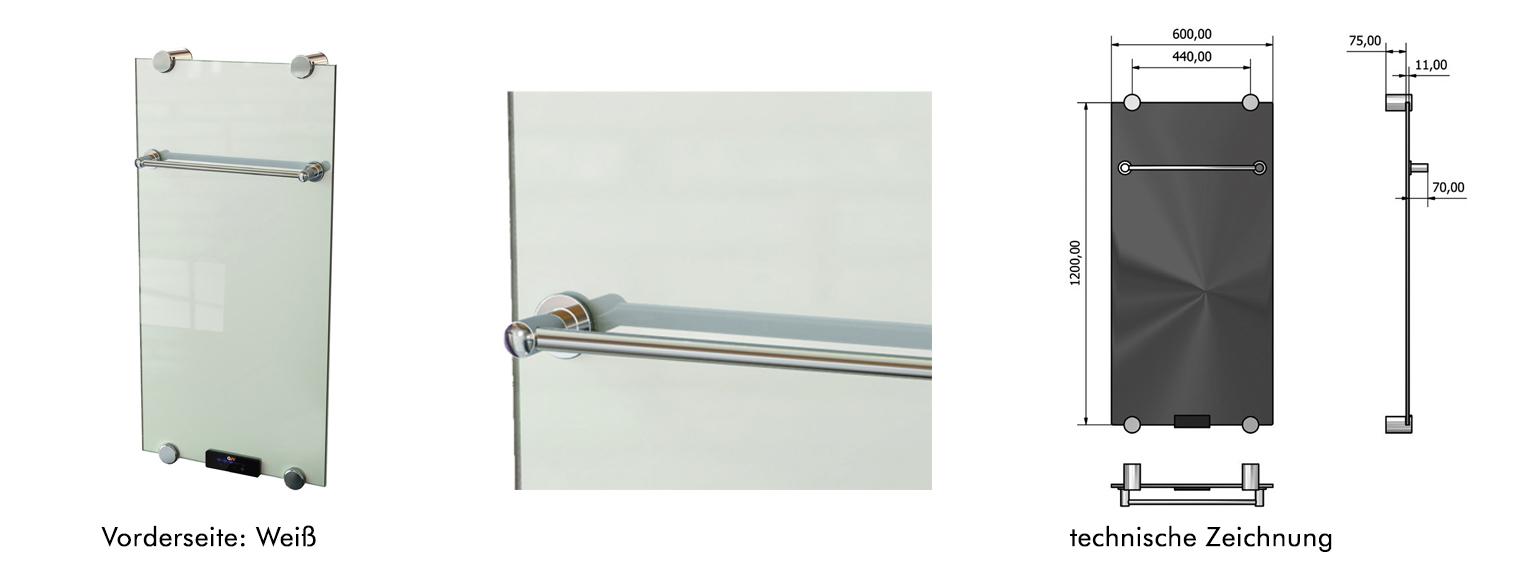 Infrarot Glasheizung IBP Weiß 550 Watt