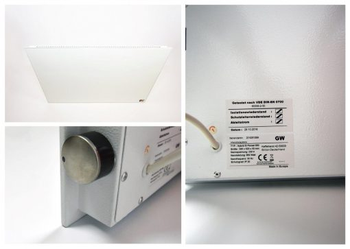 Hybridheizung Glas HB-G 900 Watt Weiss 2.Wahl