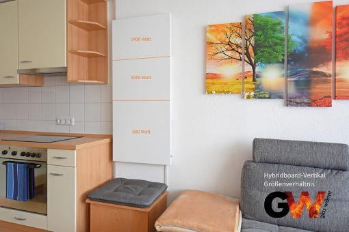 GlasWärmt-Infrarotheizung-Hybridboard-HB-Vertikal-Größenverhältnis-Weiß-600-1000-1400Watt
