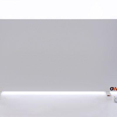 GlasWärmt-Infrarotheizung-Hybrid-weiß-1400Watt-1400x600x40mm-Light-Vorderseite